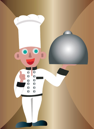 A chef carrying diner