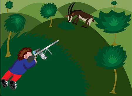 A wildlife trophy hunter aiming at a sable antelope Illustration