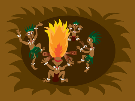 cultic: A bunch of tribesmen dancing around the fireplace