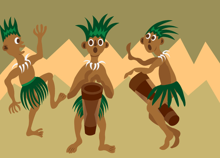 A bunch of tribesmen singing and dancing to a folk song Illustration