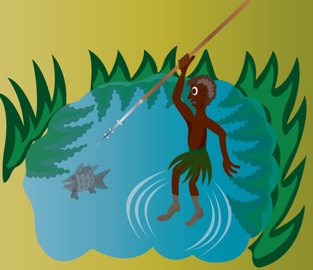 fishing rig: A tribal fisherman fishing in a pond Illustration