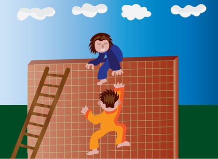 undertake: A kid helping his friend climb a wall