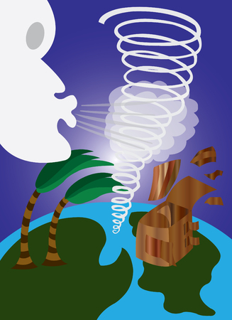 tornadoes: Whirlwinds blowing planet earth into pieces Illustration