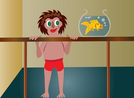 aquarian: kid looking at a gold fish Illustration