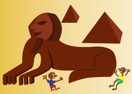 Kids Playing near the Sphinx Illustration