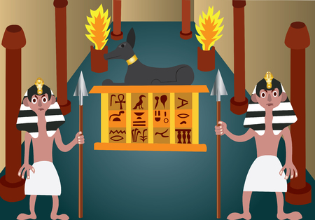 Ancient Egyptian Guards standing at a tomb entrance guarding its treasure Illustration