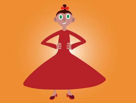 smooch: a ballet dancer holds her waist Illustration