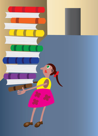 bookish: little girl holding books