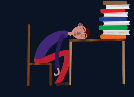 student sleeping on his study table Illustration