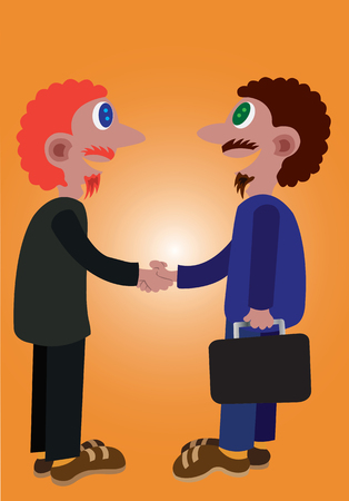 two businessmen shake hands after signing a contract, Illustration