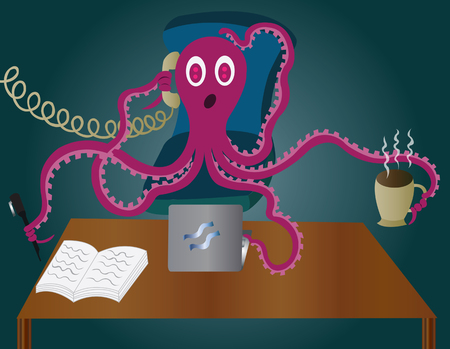 busyness: an octopus in office handling numerous tasks,