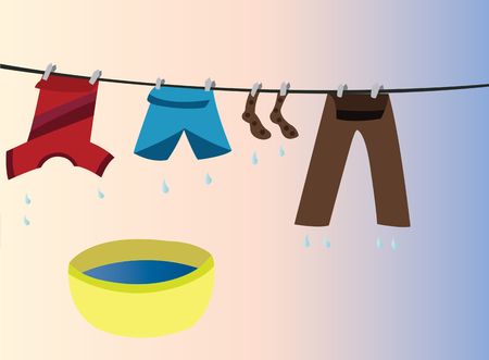 clothes hanged out in the open to dry Illustration