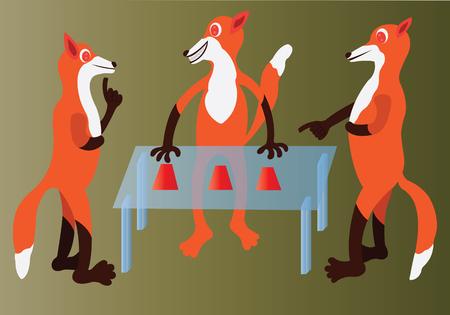 Eine Packung roter Wölfe beim Muschelspiel