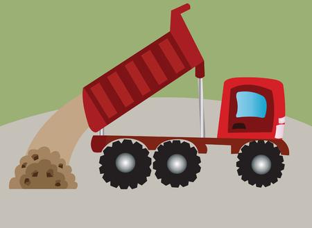 dumper: a dumper truck dumping sand and gravel Illustration