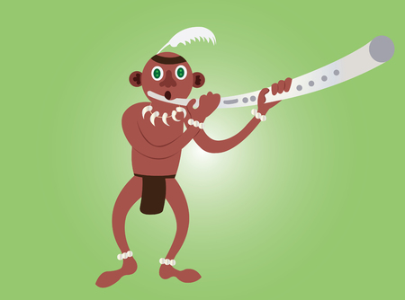 a tribesman blowing a horn to send a message,