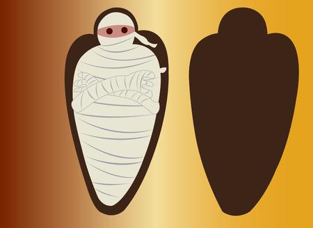 Een Egyptische mama in een Sarcophagus Stock Illustratie