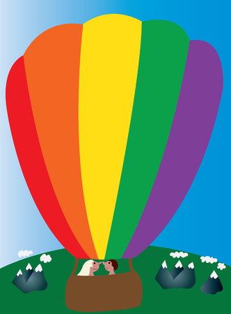 journeying: two lovers enjoying a ride in a hot air balloon Illustration