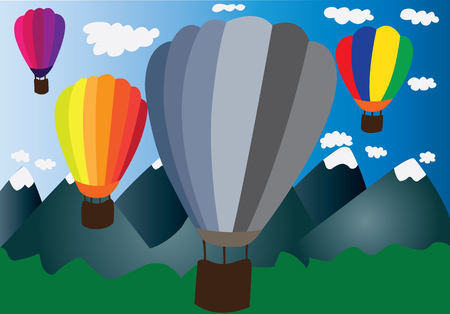 journeying: hot air balloons flying out into the distance