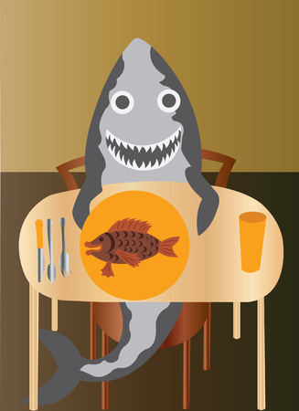 a shark taking fish for lunch