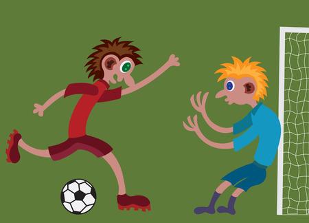 kinderen spelen op het voetbalveld