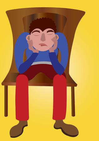 失望した男が彼の頭を押しながら座る