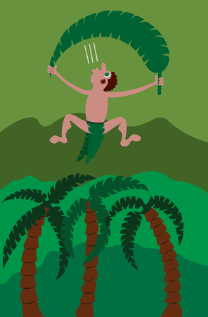 a jungle man parachuting with a leaf