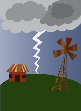 lightning striking the ground Stock Vector - 79621134