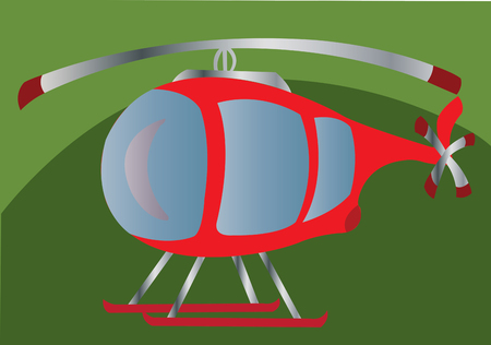 skid: a tiny helicopter sitting on grass Illustration