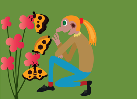 girl checking out her flowers in her garden, Illustration