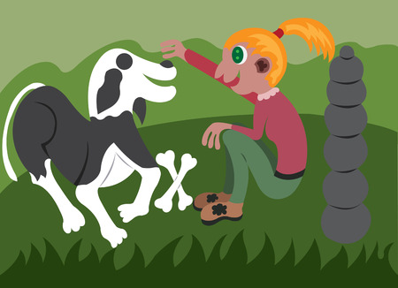 Girl playing with her dog Illustration