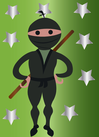 A ninja  on standby Illustration