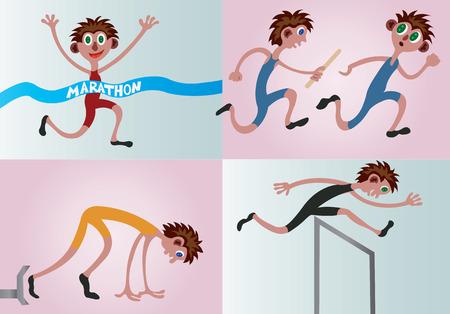 Een heleboel atleten die in verschillende veldgebeurtenissen concurreren