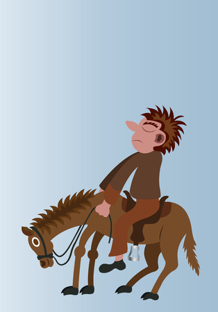 man mounts his horse