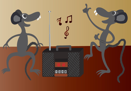 polyphony: a pair of mice on the dancing to the troy