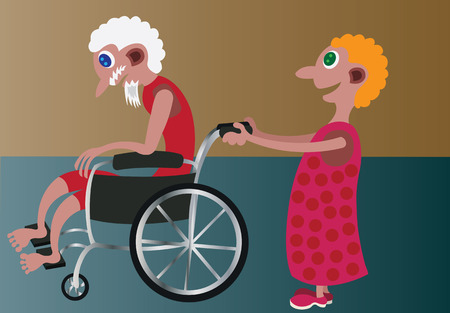 adoring: a girl pushing her grandfather in a wheelchair