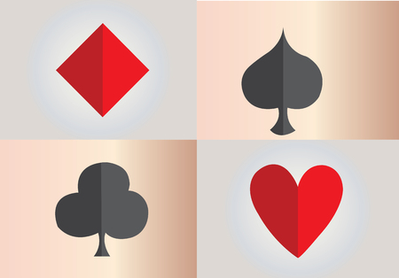 A selection of playing card suits Illustration