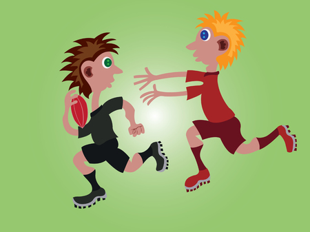 two sportsmen Competing one another in a Rugby Game, Illustration