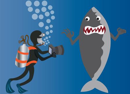 A deep sea diver taking photo of a Shark