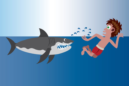 A Swimmer trying to outswim a shark,