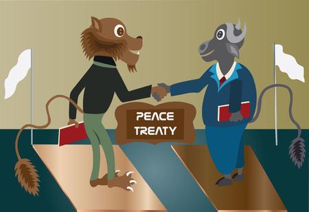 treaty: A lion and a buffalo sighing a peace treaty,