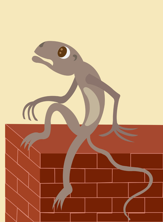 A lizard sitting on the Fence Illustration