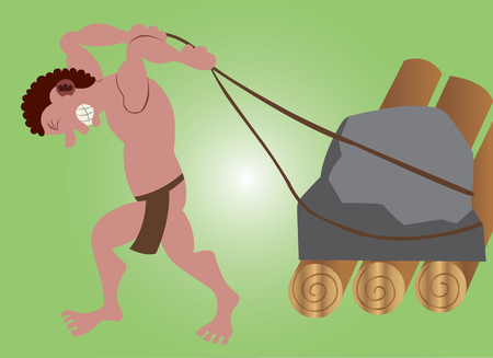A stone age man pulling  a stone on a roller
