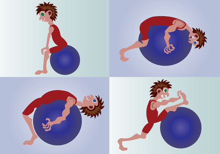 a sample selection of stretching exercises with ball,