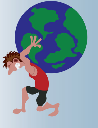 a man lifting a globe sized weight on his back Illustration