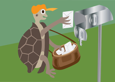 a tortoise putting a letter into  a mailbox Illustration