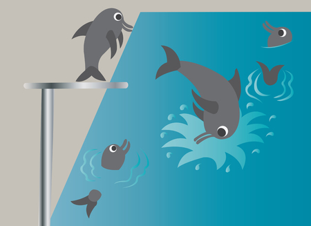 dolphins enjoying themselves in a swimming pool Illustration