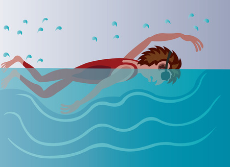 a professional swimmer enjoying himself in the pool Illustration