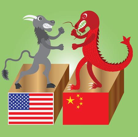 中国のドラゴンと戦うための拳でアメリカのバッファロー  イラスト・ベクター素材