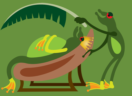 a frog king being cooled by a banana leaf Illustration
