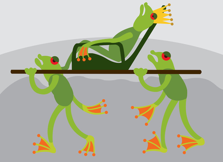 a frog king being carried on the back